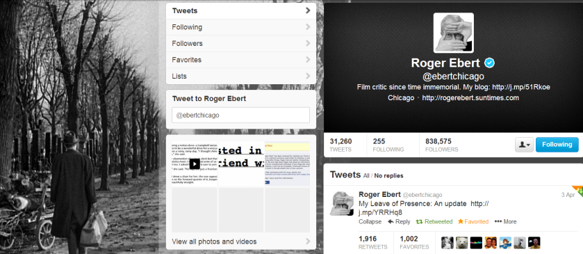 Roger Ebert's final tweet and his background photo showing a man taking a walk with his small suitcase.