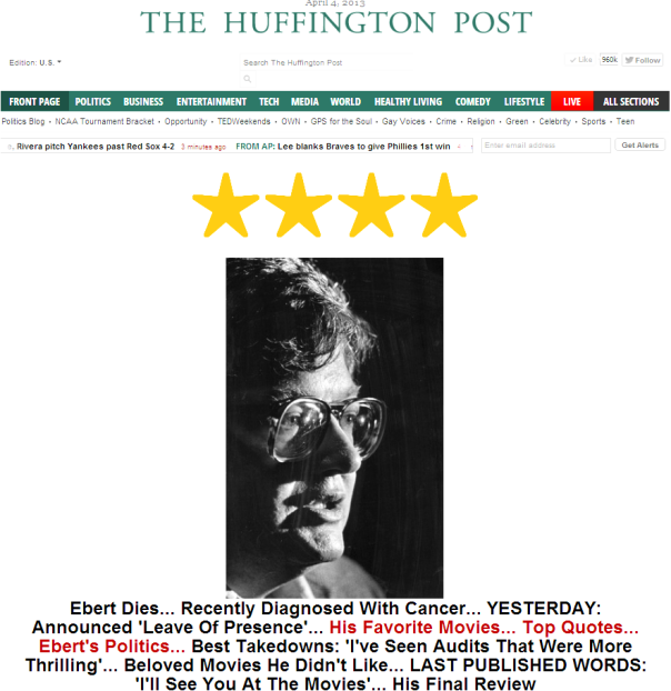 Huffington Post Front Page Screenshot April 4th, 2013